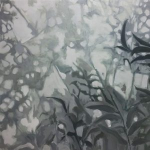 Annemarie van Hooff, Achter het glas 80 x 100 cm olie op doek