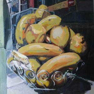 Annemarie van Hooff 'Bananen uit Brusssel' 120 x 120 cm
