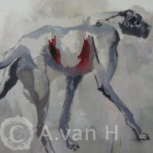 Annemarie van Hooff 'Op hoge poten' 140 x 160 cm