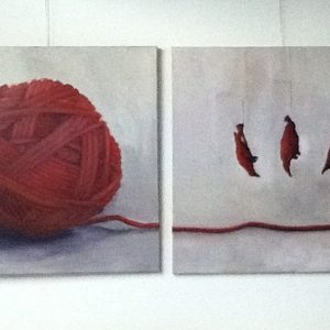 Annemarie van Hooff 'Rode bol en drie rode vogels' 2 x 100 x 100 cm