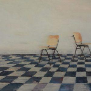 Annemarie-van-Hooff--Twee-stoelen-in-het-park--30-x-50-cm