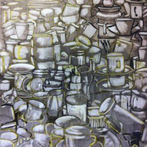 Annemarie van Hooff 'Veel kopjes' 80 x 100 cm jpg