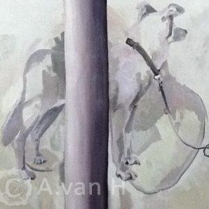 Annemarie van hooff 'Aan de paal' 140 x 140 cm
