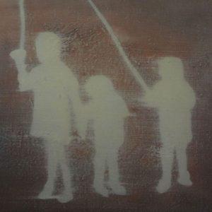 Annemarie-van-hooff--Drie-kinderen-met-stok--20-x-30-cm