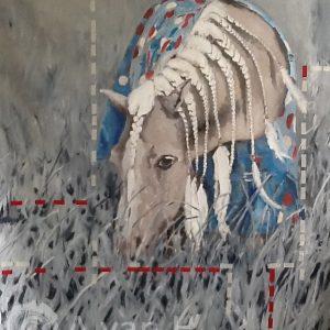 Annemarie van hooff 'Ingesnoerd' 130 x 160 cm