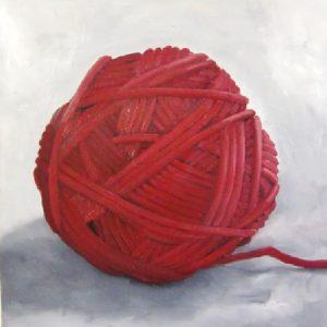 Rode bol,olie op linnen,90x90cm
